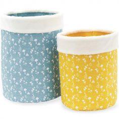 Lot de 2 paniers de toilette bleu et jaune Home (18 x 25 cm)