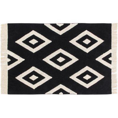 Tapis lavable diamant noir et blanc (140 x 200 cm)  par Lorena Canals