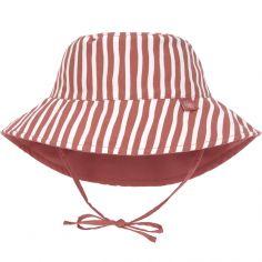 Chapeau anti-UV réversible rayé rouge (3-6 mois)