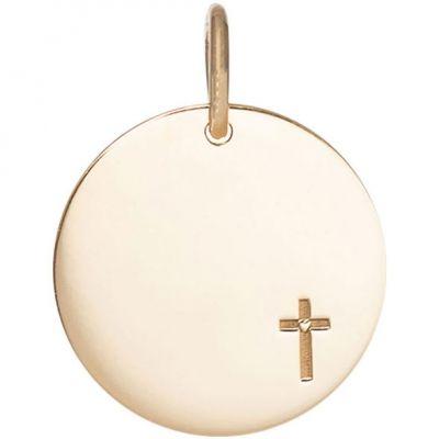 Médaille Petite Croix personnalisable 15 mm (or jaune 750°)  par Je t'Ador