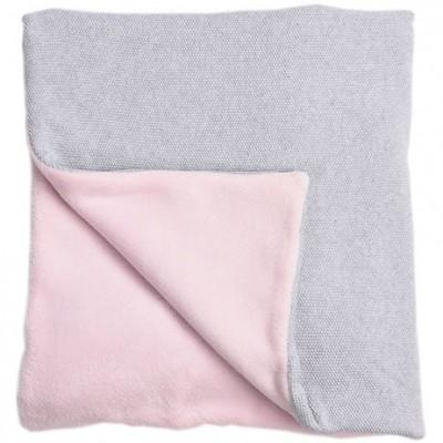 Couverture bébé en coton et polyester Perle de riz rose (100 x 140 cm)  par Nougatine