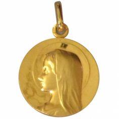 Médaille ronde Vierge auréolée sans bord 20 mm (or jaune 750°)