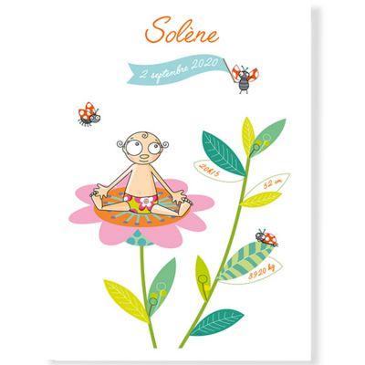 Affiche de naissance fille fleur personnalisable (21 x 29,7 cm)  par Série-Golo