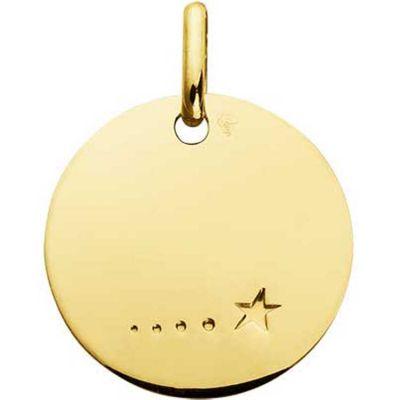 Médaille ronde unie à graver étoile 16 mm (or jaune 750°)  par A.Augis