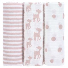 Lot de 3 langes Lela rose clair (85 x 85 cm)