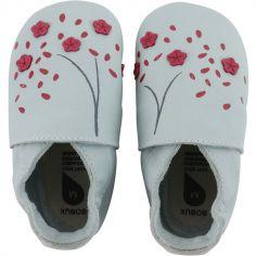 Chaussons bébé en cuir Soft soles Fleur de cerisier (9-15 mois)