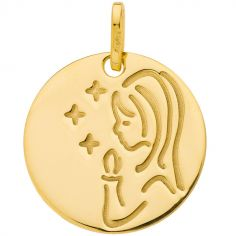 Médaille ronde Vierge bougie et étoiles 16 mm (or jaune 750°)