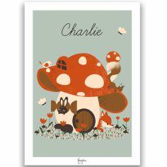 Affiche A3 La maison champignon (personnalisable)