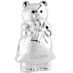 Tirelire ours métal argenté (personnalisable)