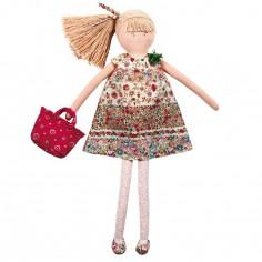 Grande poupée avec robe à fleurs rouges (50 cm)