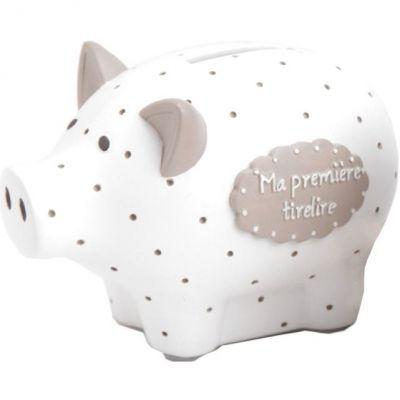 Tirelire Ma première tirelire cochon blanche à pois (8 x 12 cm) Amadeus