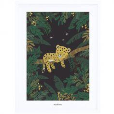 Affiche encadrée guépard Jungle night (30 x 40 cm)