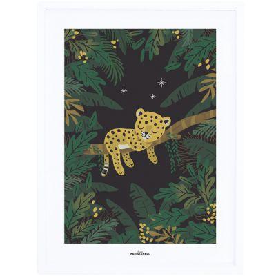 Affiche encadrée guépard Jungle night (30 x 40 cm) Lilipinso