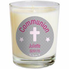 Bougie artisanale communion ou baptème croix grise (personnalisable)