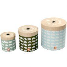 Lot de 3 boîtes de rangement rondes bleu  par Done by Deer