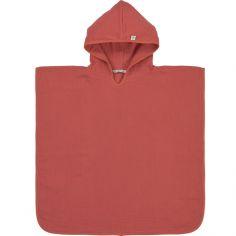 Poncho de bain en mousseline de coton bois de rose (12-36 mois)