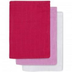 Lot de 3 gants fuchsia, rose, blanc