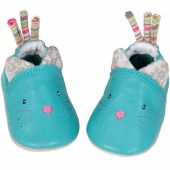 Chaussons cuir chat Les Pachats (6-12 mois) - Moulin Roty