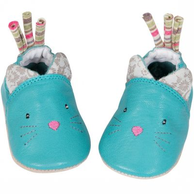 Chaussons cuir chat Les Pachats (6-12 mois)  par Moulin Roty