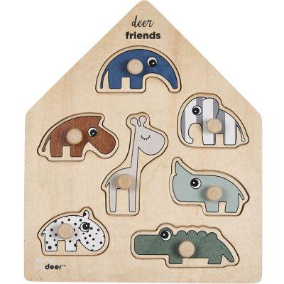 Puzzle à encastrer en bois Deer Friends (7 pièces)  par Done by Deer