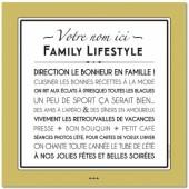 Affiche adhésive personnalisable Family Lifestyle jaune vintage (60 x 60 cm) - Mes Mots Déco