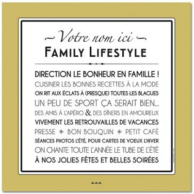Affiche adhésive personnalisable Family Lifestyle jaune vintage (60 x 60 cm)  par Mes Mots Déco
