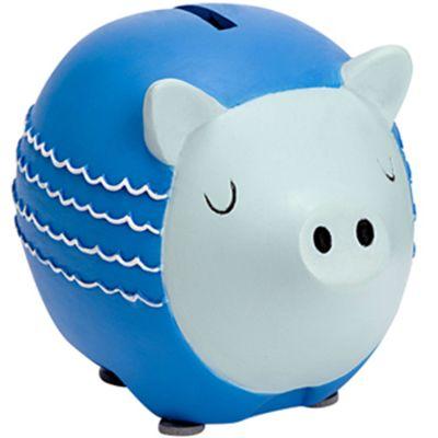 Tirelire cochon vagues bleues (9 x 12 cm)  par Amadeus Les Petits