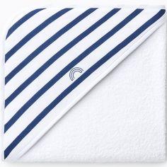 Cape de bain blanche rayures bleues (90 x 90 cm)