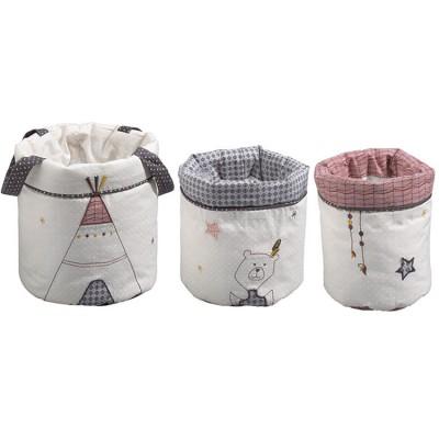 Lot de 3 paniers de toilette Timouki  par Sauthon