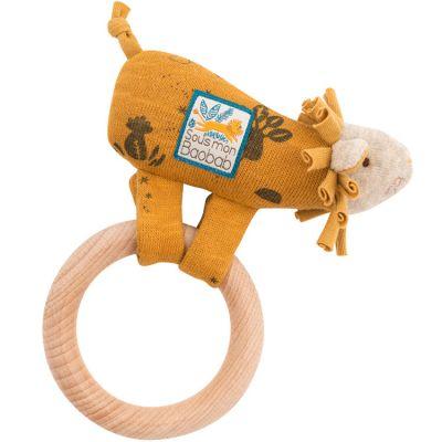 Hochet anneau en bois lion Sous mon baobab  par Moulin Roty
