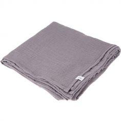 Lange en coton gris souris (90 x 90 cm)