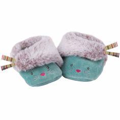 Chaussons bleus chat Les Pachats (0-6 mois)