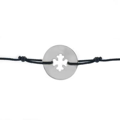 Bracelet cordon bébé médaille Signes Croix Occitane 16 mm (or blanc 750°) Maison La Couronne