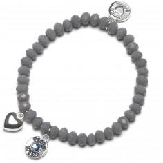 Bracelet Charm coeur perles grises charm bleu