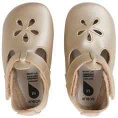 Chaussons bébé en cuir Soft soles doré Daisy (3-9 mois)