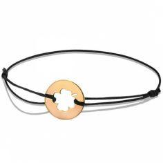 Bracelet cordon enfant Trèfle (or rose 750°)