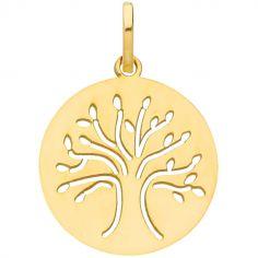 Médaille ronde ajourée Arbre de vie 16 mm (or jaune 375°)