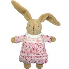 Hochet peluche Lapin Nid d'ange Fleurs roses et pochette de rangement en coton (20 cm)