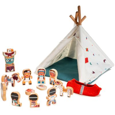 Figurines en bois Tipi et Indiens Lilliputiens