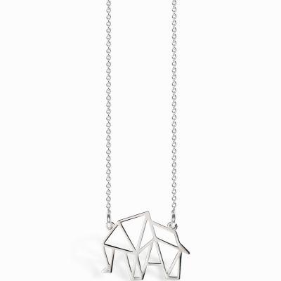 Collier chaîne 40 cm pendentif Origami éléphant 19 mm (argent 925°)  par Coquine