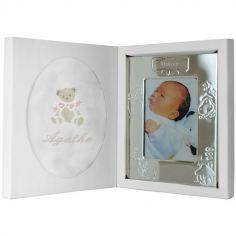 Coffret de naissance cadre + lange rose (personnalisable)