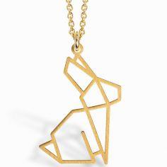 Collier chaîne 40 cm pendentif Origami lapin 20 mm (vermeil doré)