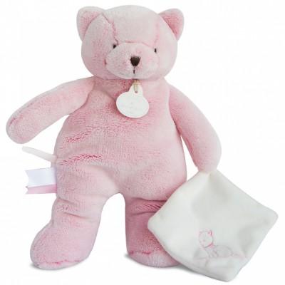 Peluche avec doudou chat rose (25 cm) Doudou et Compagnie
