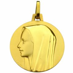 Médaille ronde Vierge profil polie et brillante 18 mm (or jaune 750°)