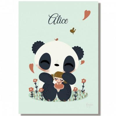Tableau le panda et l 39 enfant fille personnalisable 20 x 29 for Tableau chambre garcon