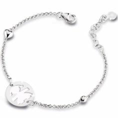 Bracelet sur chaîne Primegioie fille rond émail blanc avec coeur et perle (or blanc 375°)