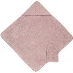 Cape de bain et gant de toilette Mix & Match rose (75 x 75 cm)