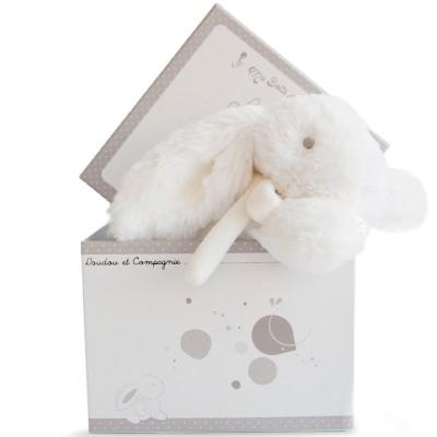 Coffret peluche musicale lapin blanc (20 cm) Doudou et Compagnie