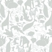 Papier peint intissé Animaux Gris de Zina Larichi (10 m)  par Art for Kids