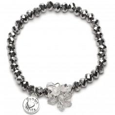 Bracelet Charm perles argentées charm bouquet de perles